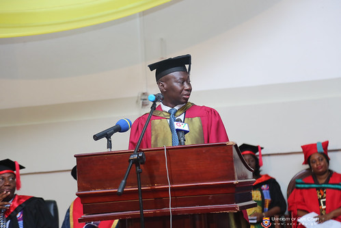 Prof. Isaac Kojo A. Galyoun, PROVOST-COLLEGE OF DISTANCE EDUCATION, presenting students to be conferred with their degrees and diplomas