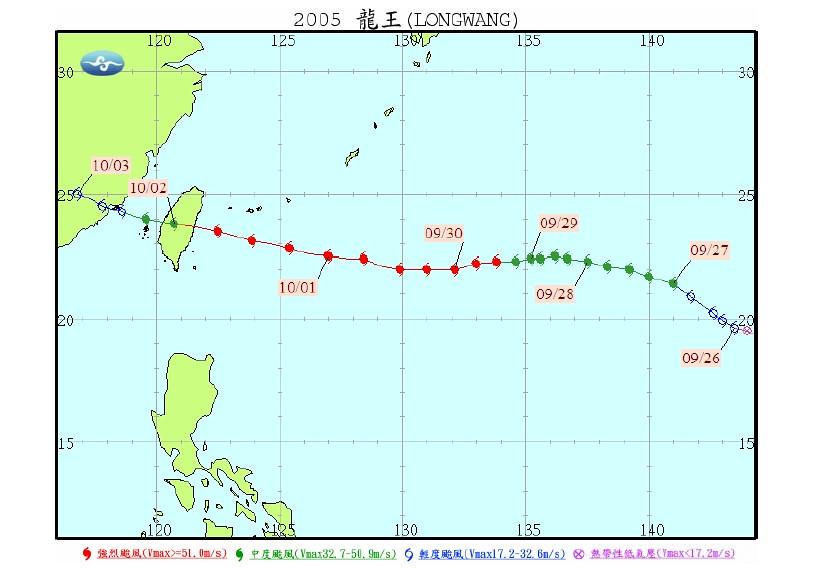2005 年強烈颱風龍王經過台灣後減弱為中度颱風。資料來源:氣象局