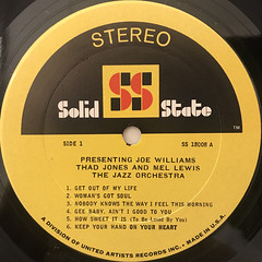 JOE WILLIAMS THAD JONES AND MEL LEWIS THE JAZZ ORCHESTRA:PRESENTING JOE WILLIAMS THAD JONES AND MEL LEWIS THE JAZZ ORCHESTRA(LABEL SIDE-A)