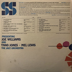 JOE WILLIAMS THAD JONES AND MEL LEWIS THE JAZZ ORCHESTRA:PRESENTING JOE WILLIAMS THAD JONES AND MEL LEWIS THE JAZZ ORCHESTRA(JACKET B)