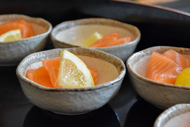 Salmon Sashimi at Kaia's Bottomless Sushi Brunch at The Ned, London