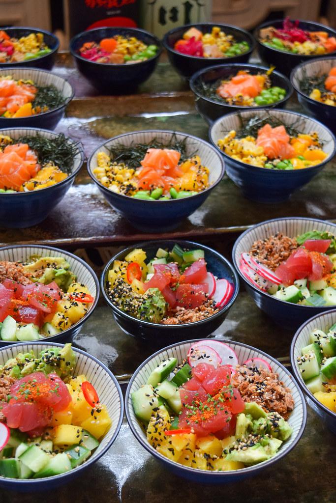 Poke Bowls at Kaia's Bottomless Sushi Brunch at The Ned, London