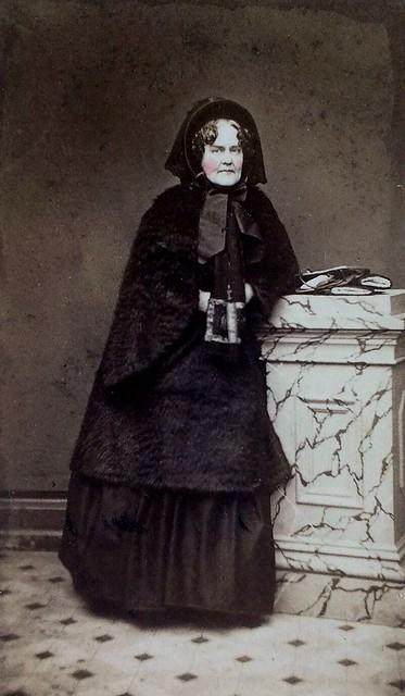 Mrs. Adam Reed in Mourning, Unmarked Albumen Carte de Visite, Circa 1863