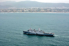 VISAKHAPATNAM, India (June 11, 2019) The amphibious transport dock ship USS John P. Murtha (LPD 26) with embarked Marines from the 11th Marine Expeditionary Unit (MEU) approaches Visakhapatnam for a port visit. During the visit, Sailors and Marines will work to enhance U.S. and Indian military cooperation by conducting professional exchanges with their Indian counterparts and will have the opportunity experience India. (Indian Navy photo)
