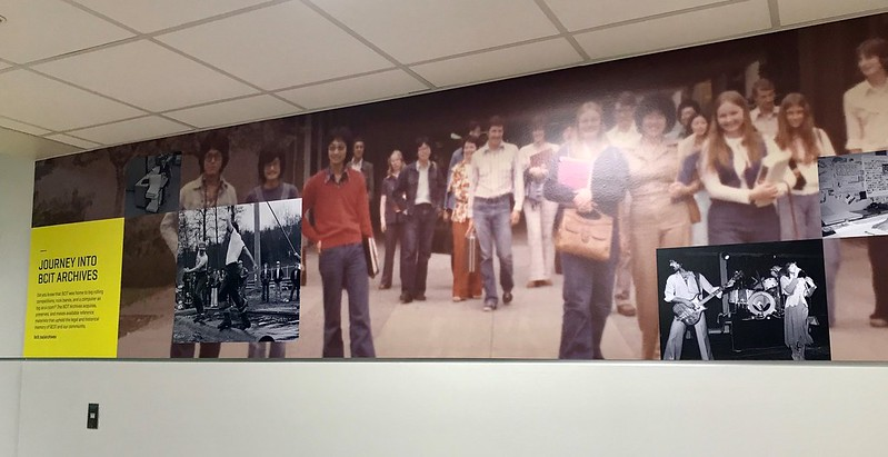 Photograph of mural of BCIT Archival photographs