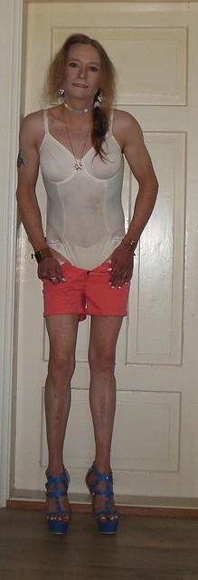 #smile #posing #striptease #lingerie #teddy #bodysuit #shorts #shortshorts #barelegs #highheels #sandals #tgirl #transvestite