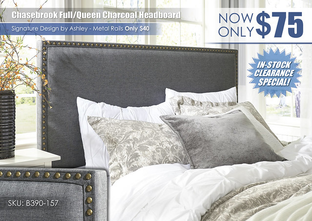 Chasebrook Upholstered Charcoal Headboard_B390-157