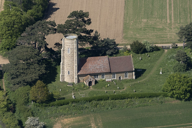 All Saints Church in Ramsholt - Suffolk UK aerial image