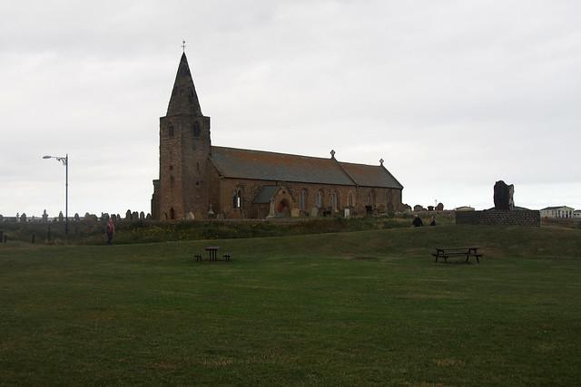 Church at The beach at The coast north of Newbiggin Point