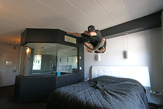 Bed Jump in a Black Room