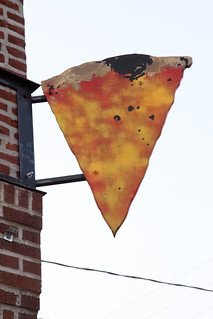 Hand-drawn hanging sign, Pizza, Philadelphia
