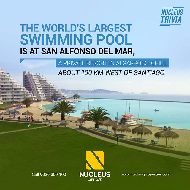 At 1,013 meters (3,324 ft) in length with a total area of 8 hectares (19.77 acres), the swimming pool at the San Alfonso del Mar resort in Algarrobo, Chile is the largest in the world.  #BuildingFacts #Facts #Trivia  #Kerala #Kochi #India #LuxuryHomes #Ar