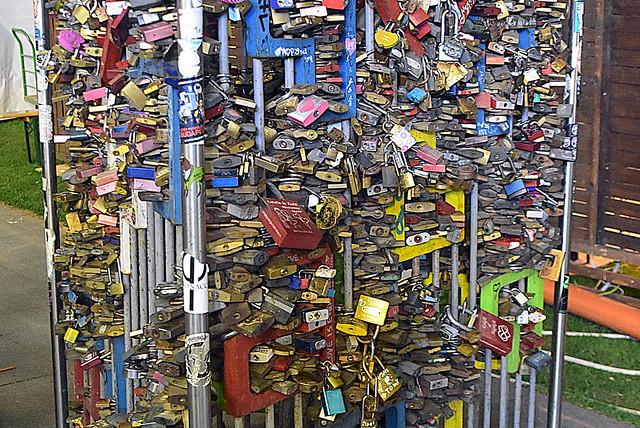 Seriously? Love locks, Budapest, Hungary.