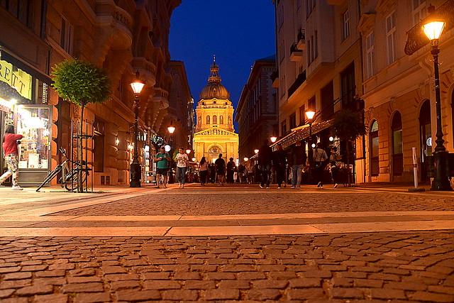 Night Street of Budapest, Hungary.