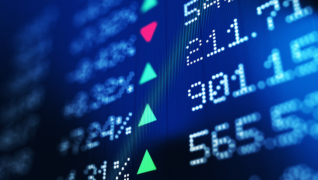 Stock market prices on an electric screen