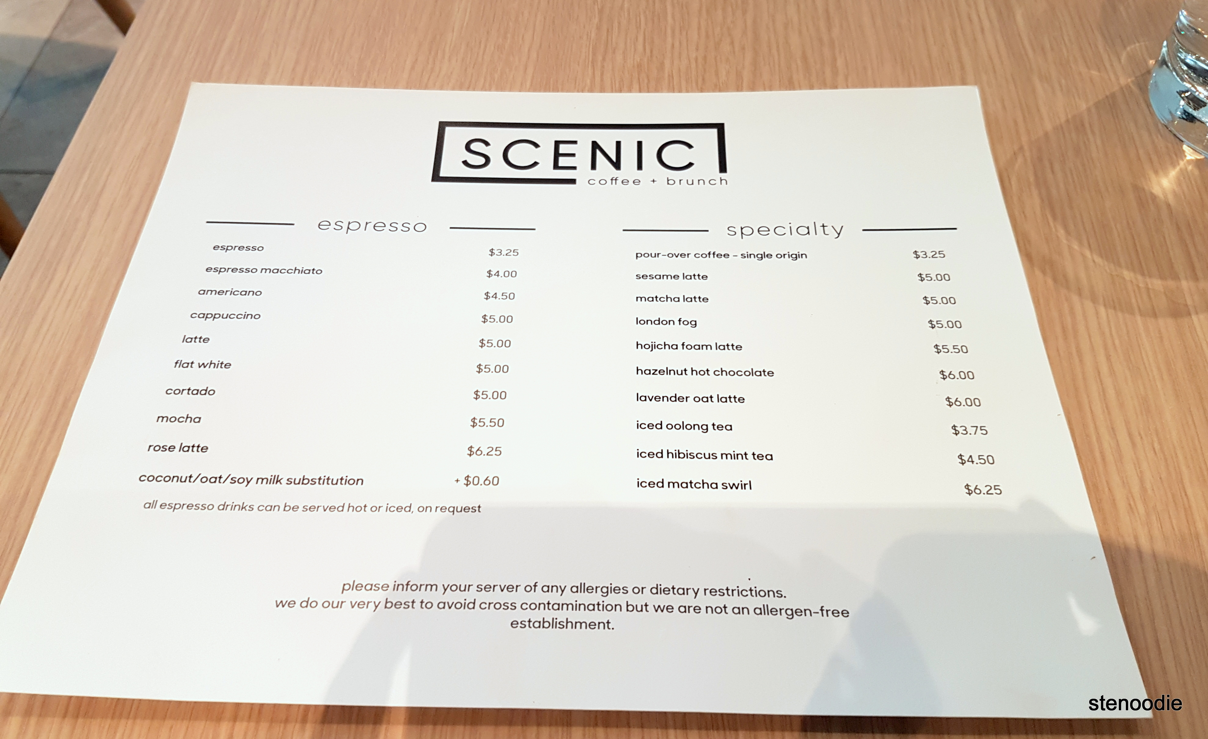 SCENIC coffee + brunch drinks menu