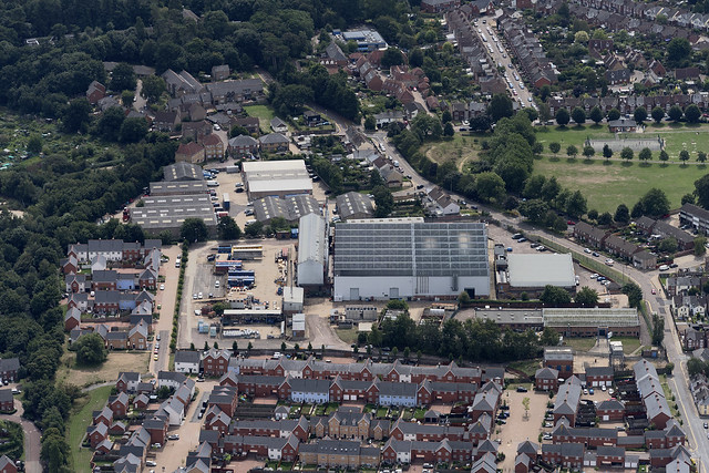 Colchester MAN Energy Solutions and Port Lane Industrial Estate aerial image