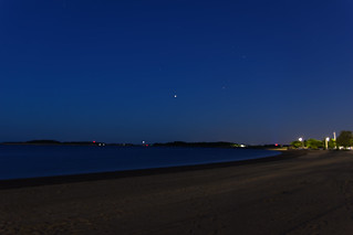 Jupiter in opposition on June 11, 2019, as seen from across Pleasure Bay, South Boston.