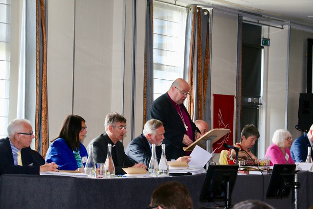 The Bishop of Cork, Cloyne and Ross, Dr Paul Colton, addressing the Diocesan Synod of the United Dioceses for the 21st time.