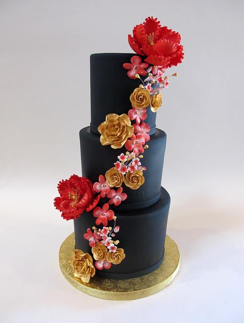 Black Fondant with Floral Cascade 900562
