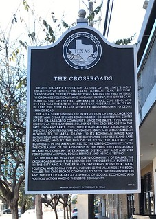The Crossroads Designation in Oak Lawn - Texas State Historical Marker