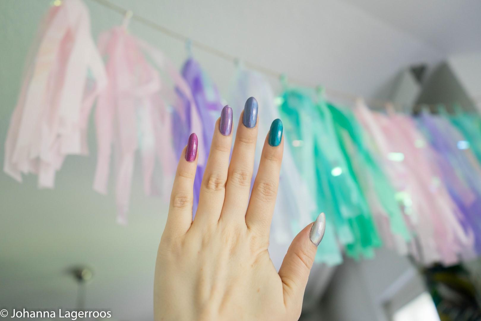 birthday holo nails