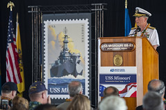 PEARL HARBOR (June 11, 2019) Rear Adm. Brian Fort, Commander, Navy Region Hawaii/Commander, Naval Surface Group Middle Pacific, speaks after unveiling of the U.S. Postal Service commemorative forever stamp celebrating the 75th anniversary of the commissioning of the battleship USS Missouri (BB 63) during a ceremony aboard Joint Base Pearl Harbor-Hickam. Missouri was commissioned June 11, 1944 and was the last Iowa-class battleship ever made. (U.S. Navy photo by Mass Communication Specialist 2nd Class Charles Oki/Released)