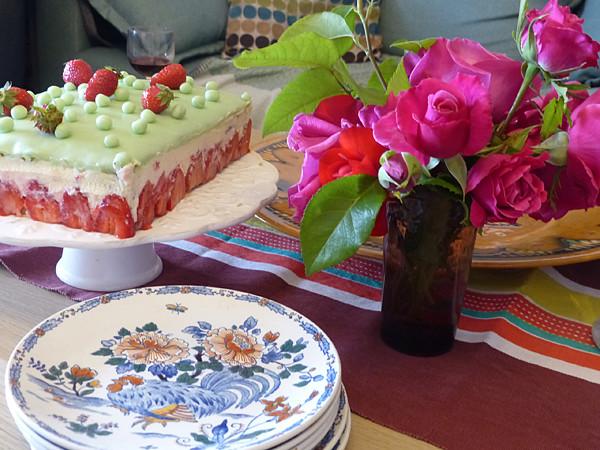 roses et fraisier