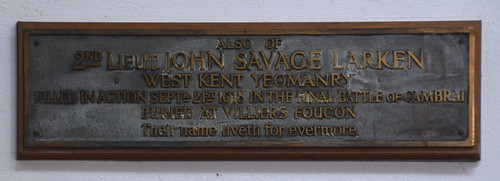 killed in action at the final battle of Cambrai, buried at Villiers Foucon