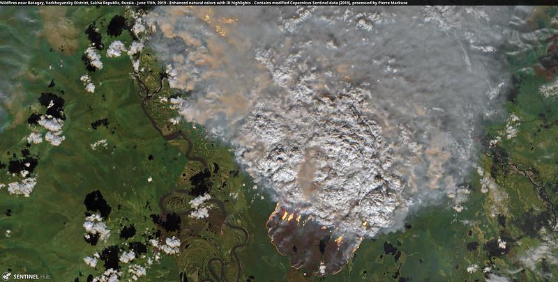 Wildfires near Batagay, Verkhoyansky District, Sakha Republic, Russia - June 11th