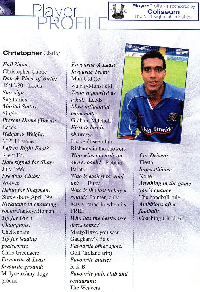 16-09-2000 Halifax Town 0-1 Southend United 8 Chris Clarke