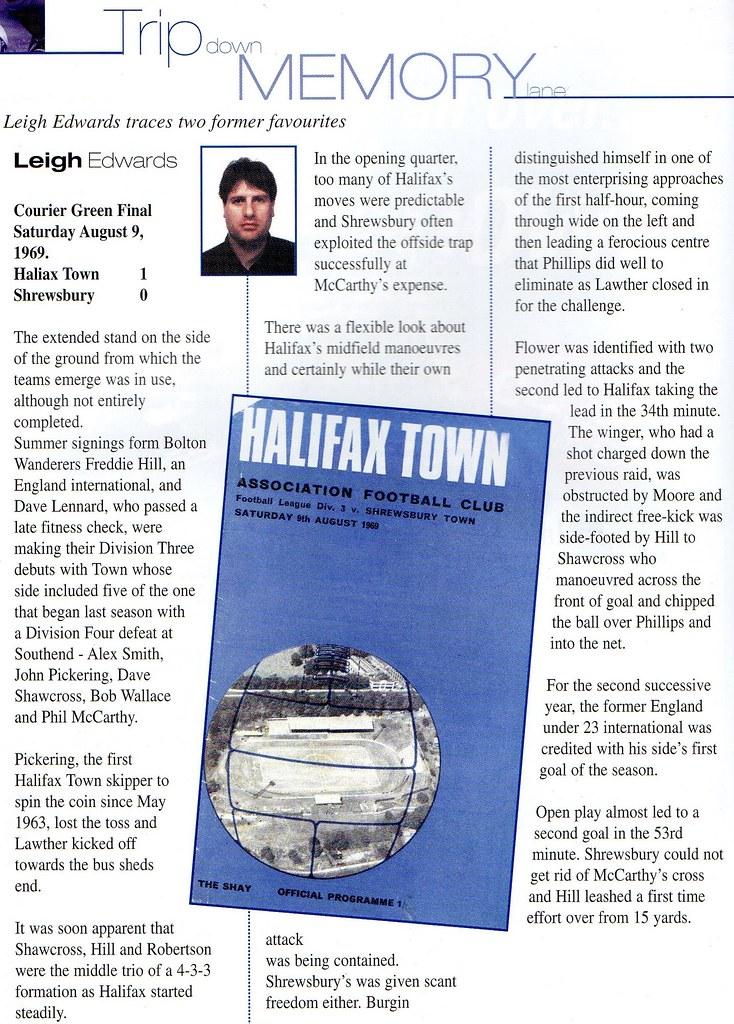 30-09-2000 Halifax Town 0-0 Shrewsbury Town 11 09-08-1969
