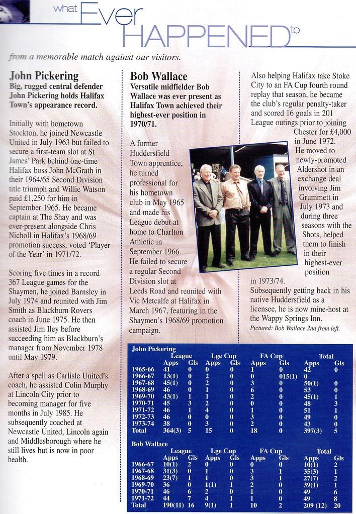 30-09-2000 Halifax Town 0-0 Shrewsbury Town 12 John Pickering & Bob Wallace