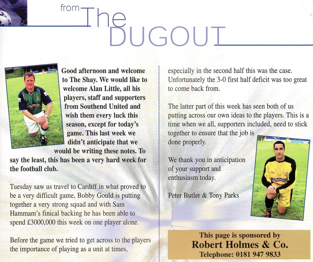 16-09-2000 Halifax Town 0-1 Southend United 3 Peter Butler & Tony Parks