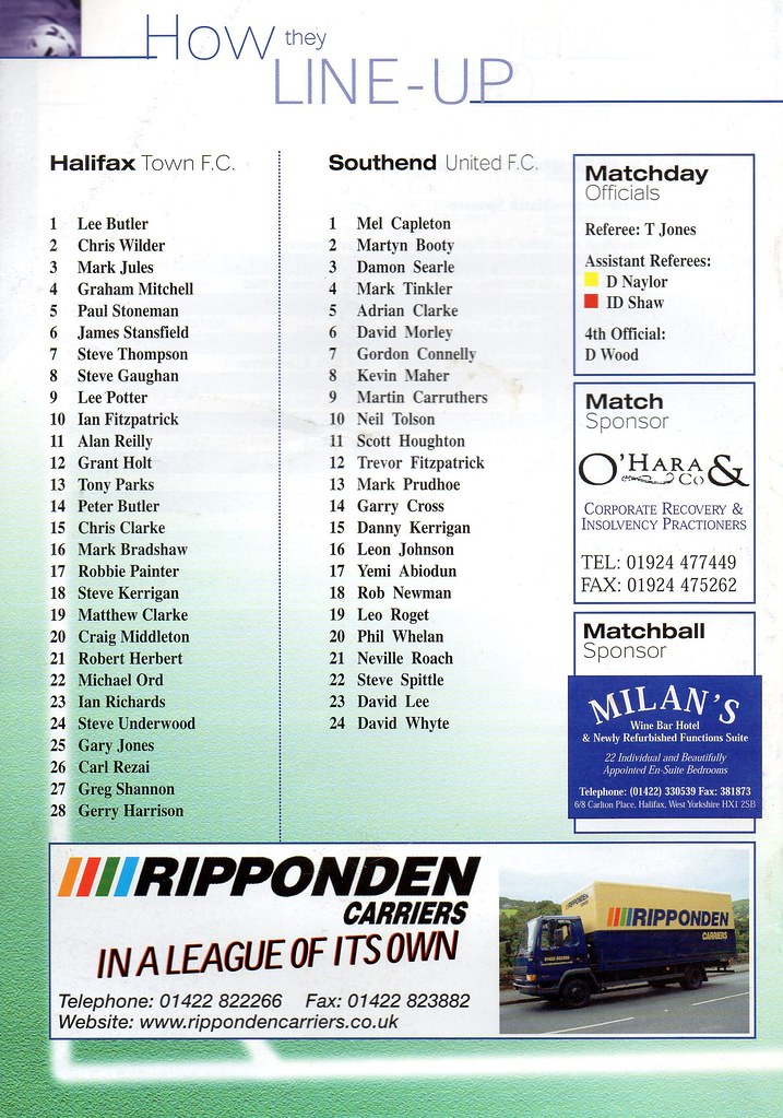 16-09-2000 Halifax Town 0-1 Southend United 2
