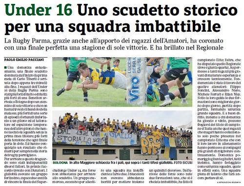 Gazzetta di Parma - 12.06.19 - Under 16 Campione d'Italia