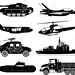 war vehicles icon set