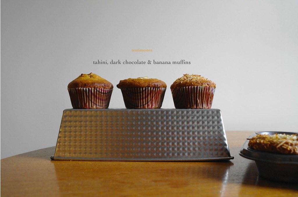 tahini banana muffin
