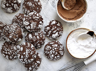 chocolate brownie crinkle cookie with powdered sugar and olive oil | by michtsang