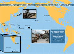 From California to Diego Garcia, about 800 Seabees are deployed today at 17 locations around the Indo-Pacific region. (U.S. Navy/MC2 Kenneth Rodriguez Santiago)