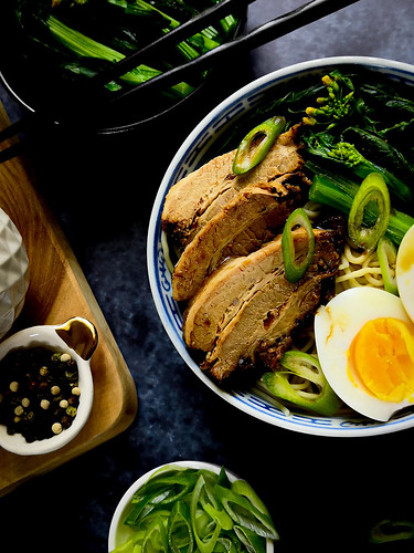 Slow cooked pork belly with noodles in vinegar broth