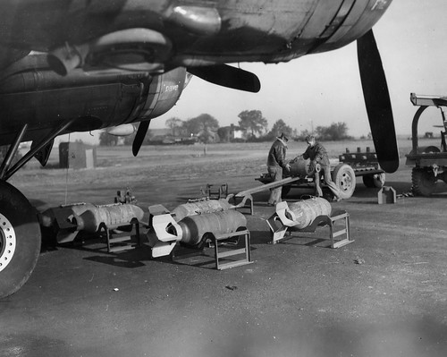 bombs ready  for loading into a B-17 Flying Fortress  from the 381st Bomb Group of the US Air Force 26th on the 26th September 1943.