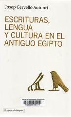 Josep Cervelló, Escrituras lengua y cultura en el antiguo Egipto