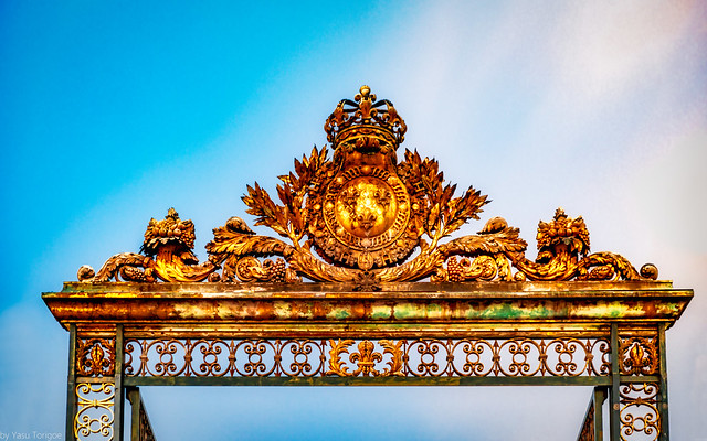 Gate of Honor (Grille d'honneur) at Versailles Palace, France-9