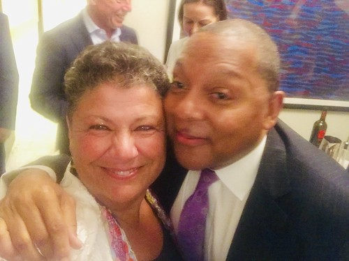 WWOZ G.M. Beth Arroyo Utterback and Wynton Marsalis. Photo by Beth Arroyo Utterback at NYC fundraiser for WWOZ - June 12, 2019.