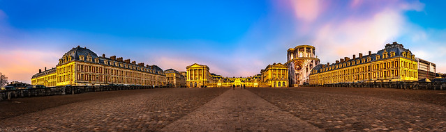 Panoramic front view of the Palace of Versailles from place d'Arme, Frace-10a