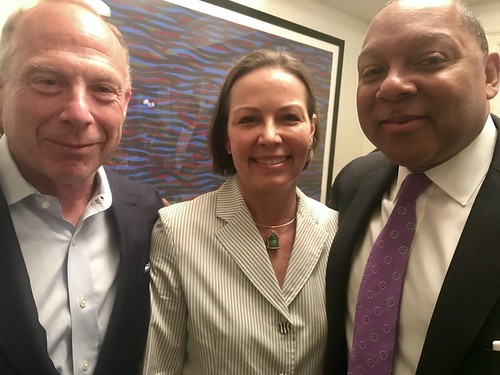 NYC party hosts Michael Katzenstein and Courtney Slatten Katzenstein with Wynton Marsalis. Photo by Beth Arroyo Utterback at WWOZ fundraiser in New York - June 12, 2019.