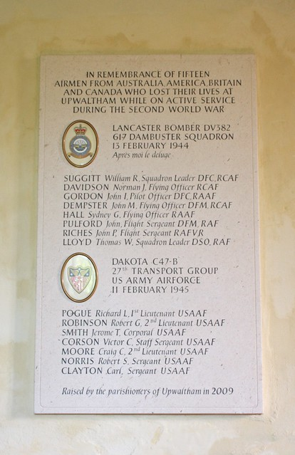 Plaque in remembrance of fifteen airmen from Australia America Canada and Britain Upwaltham Church West Sussex UK