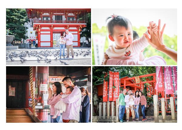 family photo session at Osu Kannon temple, Nagoya, Japan