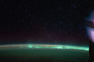"The aurora australis, or ""southern lights"" 